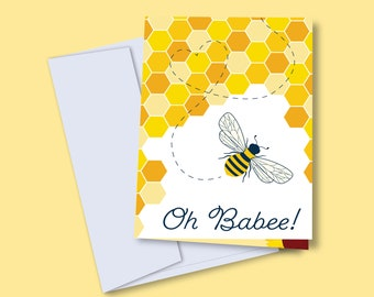 Oh Babee Greeting Card | Illustration Bee Baby Shower Greeting Card | Pun Card | Blank Card | A2 | Any Occasion Greetings