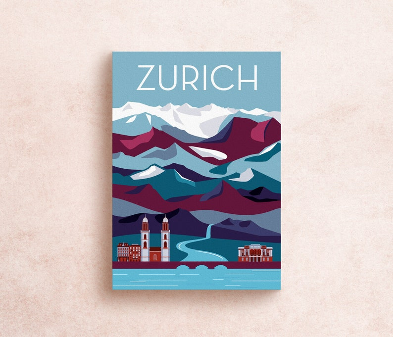 Zurich Switzerland Travel Postcard Print  Illustrated image 0