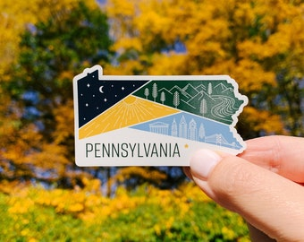 Pennsylvania State Sticker   Decor Souvenir   Laptop Sticker   Water bottle Sticker   Cute Gift Weatherproof   Geometric Illustration Color