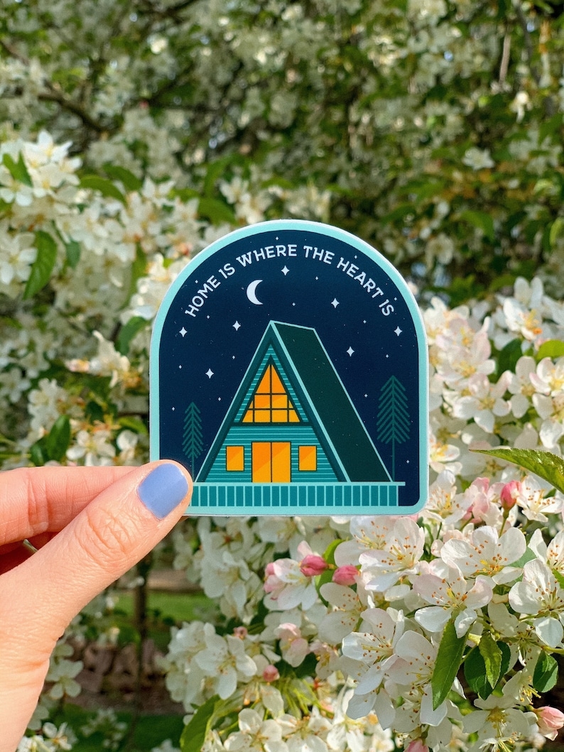Home is Where the Heart is...Night Cabin Sticker  Adventure image 0