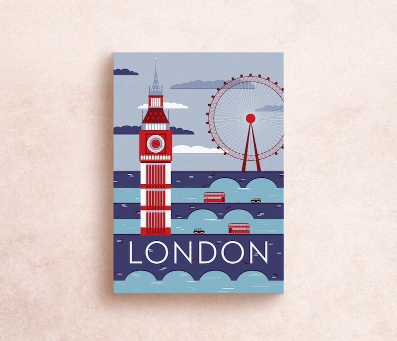 London Travel Postcard Print  London England Postcard image 0