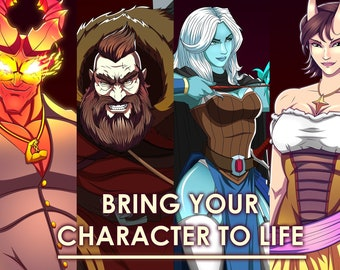DnD Commission, DnD art, D&D party RPG Custom Character Portrait, character commission, character design, fantasy illustration,