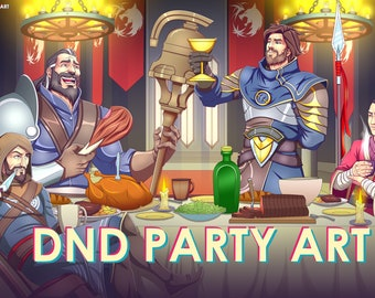 DND Party Art - Fantasy RPG Group Portraits - Custom Character Drawing - OC Illustration