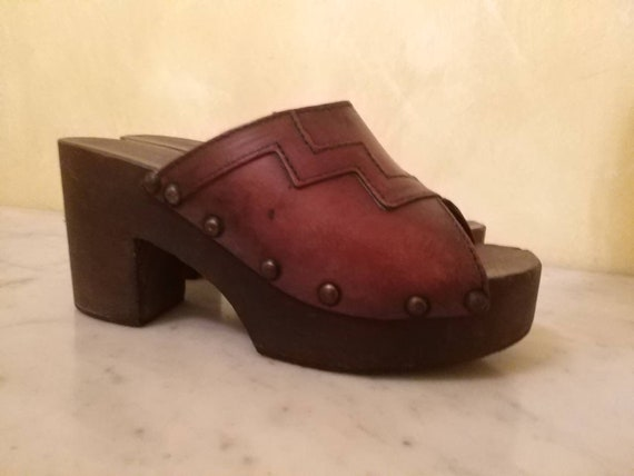 Clogs clogs 70s wood and leather
