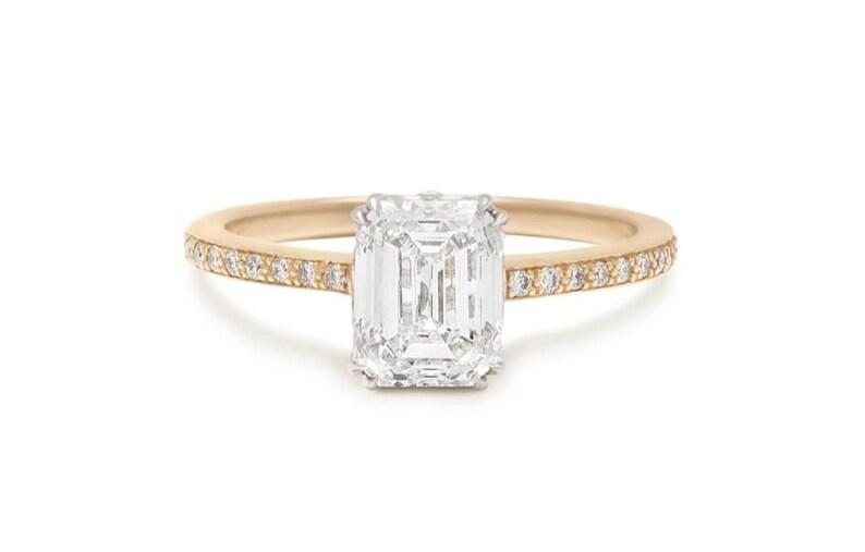Ceratifited Moissanite Engagement Ring 14kt Solid Yellow GoldRose GoldWhite Gold White Moissanite Ring Gift For Her