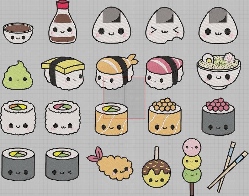 Kawaii Sushi Mix 21 Machine Embroidery Designs File 4x4