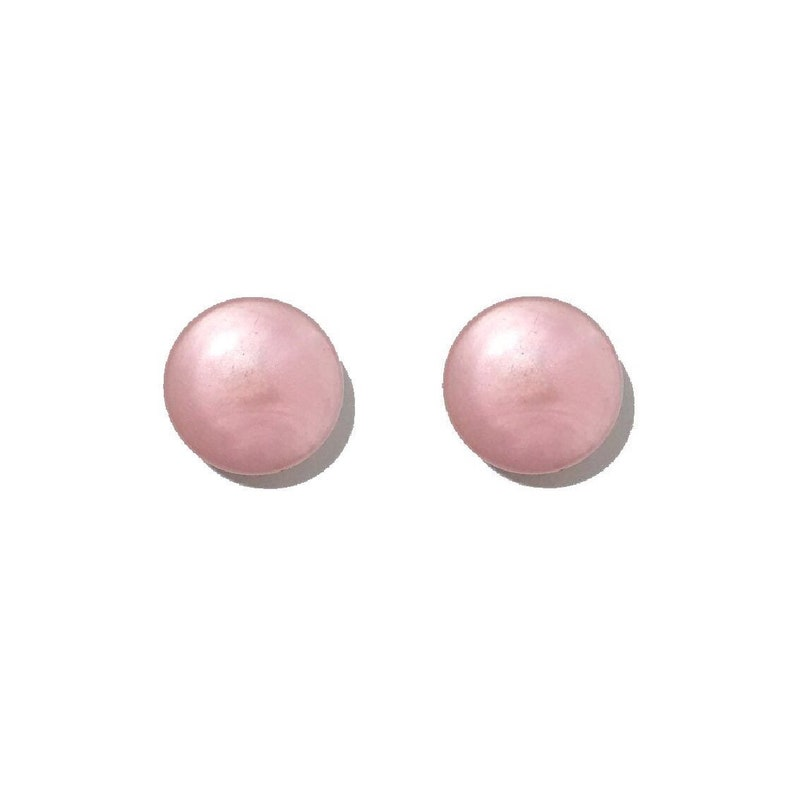 Vintage Retro 50s Pale Baby Pastel Pink Round Circle Large Statement Clip On Earrings