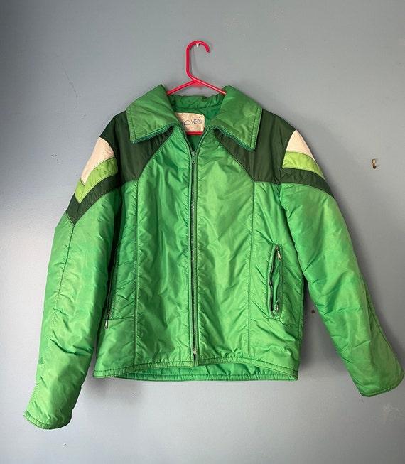 70s ski jacket green and white ski jacket puffer c