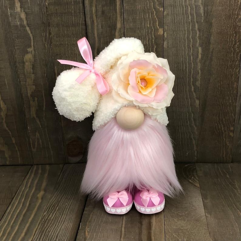 Pink Flower Gnome Spring Gnome Farmhouse Gnome image 0