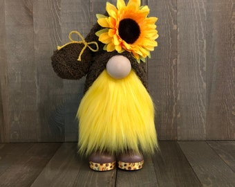 Sunflower Gnome, Fall Gnome, Summer Gnome, Brown and Yellow Gnome
