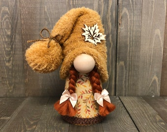Fall Girl Gnome, Gnome with Braids, Girl Gnome