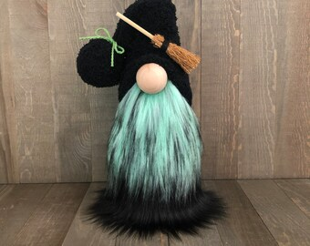 Witch Gnome, Halloween Gnome, green and black gnome
