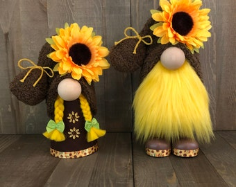 Sunflower Couple Gnome, Gnome Couple , Brown Yellow Gnomes, Fall Gnome Couple