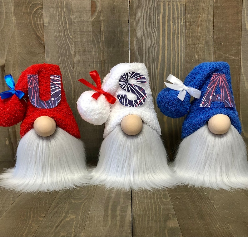 USA Gnome Set Forth of July Gnome Patriotic Gnome Tiered image 0