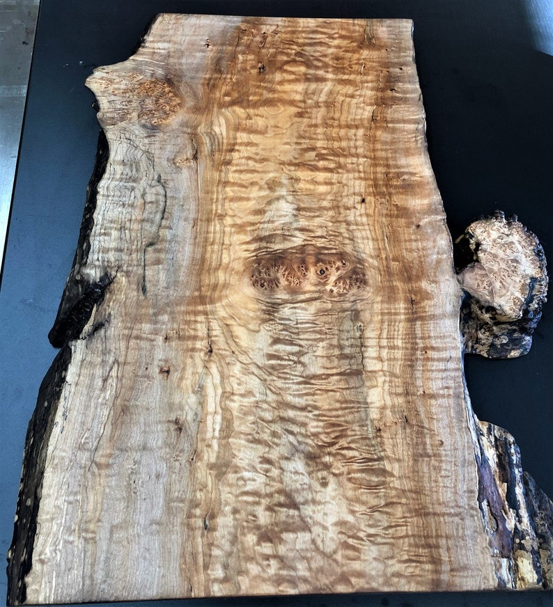 Extra Large maple charcuterie board with quilt and burl live edge and burl 1 12 x 15 12 x 24 12
