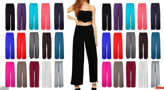 Womens Ladies Floral Palazzo Trousers Wide Flared Leg Leggings Pants 8-14 New