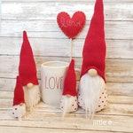 Valentine Gnomes. Faux fur. home decor. Modern farm house felt gnome. Shelf sitter. Valentine's home decor. Birthday.