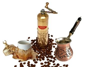 SOZEN Turkish Handmade Coffee Salt Pepper Spice Grinder Mill Brass 9cm 3.60IN