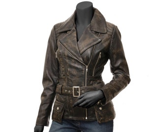 Vintage Style Biker Leather Jacket, Real Leather, Polyester Lining, Distressed Brown Coat Women / XS-3X & Customisation