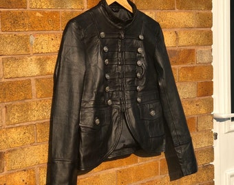 Cropped Military Real Leather Jacket Women Black Winter Leather Coat / XS-3X & Customisation
