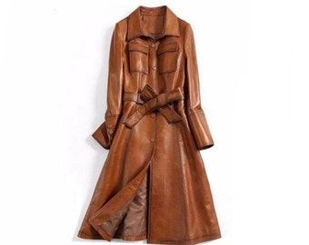 Italian Style Overcoat Real Leather Trench Coat, Sashes Belt Wax Tan Long Leather Streetwear Jacket Womens / XS-3X & Customisation