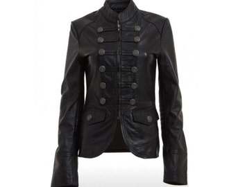 Military Style Black Real Leather Jacket Womens Winter Leather Coat - Blazer / XS-3X & Customisation
