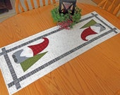Digital Gnome table runner pattern, PDF, Winter, Christmas