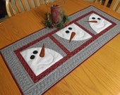 Quilted table runner pattern, PDF pattern for snowman table topper, Winter Christmas pattern, Through The Window