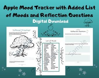 Apple Mood Tracker/Worksheet/Activity/Mental Health Aid