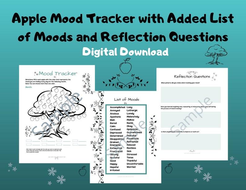 Apple Mood Tracker/Worksheet/Activity/Mental Health Aid image 0