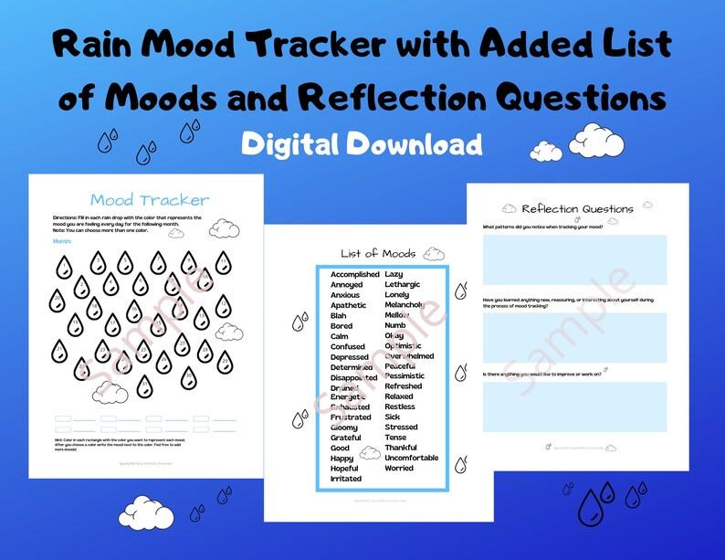 Rain Mood Tracker/Worksheet/Activity/Mental Health Aid image 0