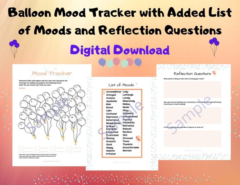 Balloon Mood Tracker/Worksheet/Activity/Mental Health Aid image 0