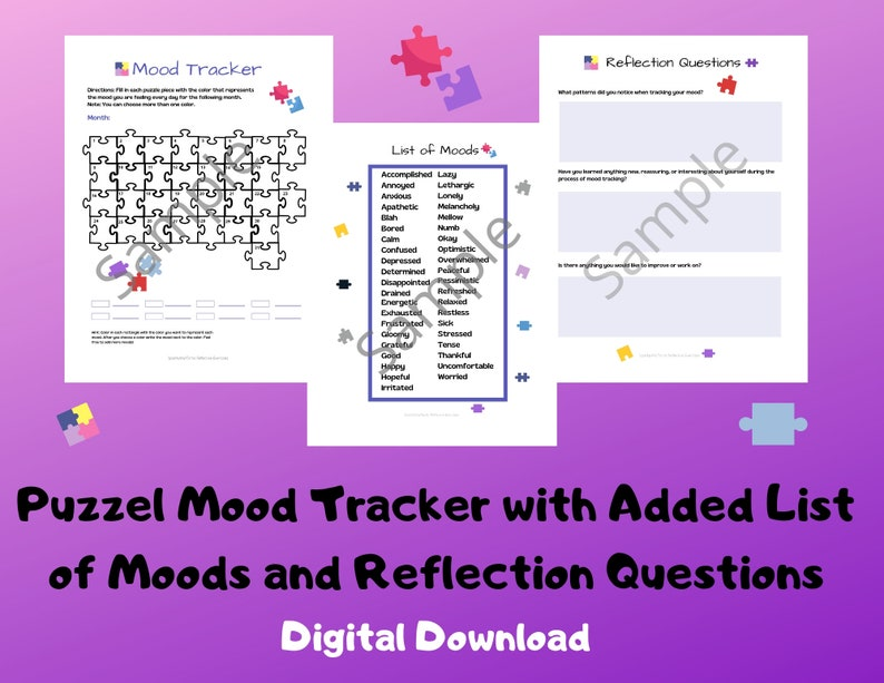 Puzzel Mood Tracker/Worksheet/Activity/Mental Health Aid image 0