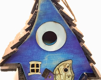 Crooked Blue-purple Rustic Bird house /Whimsical Birdhouse /Garden Art /Handmade Birdhouse /Home Decor