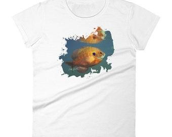 Blue Gill Women's short sleeve t-shirt, Fishing Gifts For ladies, Fishing Shirt for ladies, Mother's day gift, woman's gift ideas