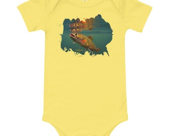 Brook Trout Baby short sleeve one piece, Fishing Gifts For baby, Shirt for baby, baby body suit, one piece baby outfit, Flyfishing gift