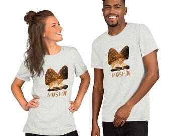 Morel Mushroom (Mushin) Short-Sleeve Unisex T-Shirt, Gift for dad, gift for mom, mushroom shirt, mothers day gift, fathers day gift