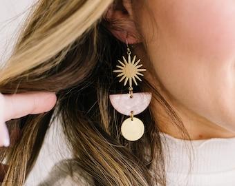 Acetate Tortoise Shell Starburst Brass earrings  'Stella'