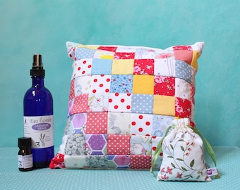 True lavender wool cushion + floral water + essential oil + lavender sachet