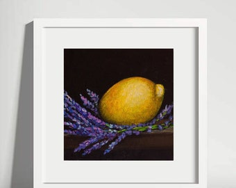 Lemon Painting Original Oil Lavender Still Life Citrus Fruit Wall Art Artwork Decor