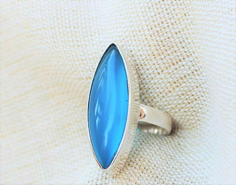 Designer Silver Ring Handmade Silver Ring Wedding Gift Sterling Silver Ring BLUE CHALCEDONY Ring Birthstone Bezel Ring Gift Ring