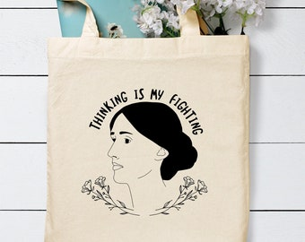 Thinking is my Fighting Tote Bag / Virginia Woolf Tote Bag / Gift for Book Lovers / Literary Tote Bag