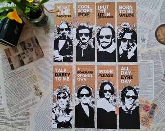 Complete Literary Classics Bookmark Set / Shakespeare Austen Bronte Woolf Poe Wilde Shelley Dickens