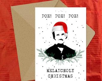 Poe! Poe! Poe! Melancholy Christmas / Edgar Allan Poe Christmas Card / Literary Christmas Card / Card for Book Lovers