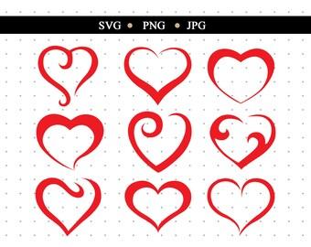 Cute Hearts SVG Cut File Color Bundle png Clipart svg Cricut Color Heart Shapes jpg ai Digital Files psd Love Cut file