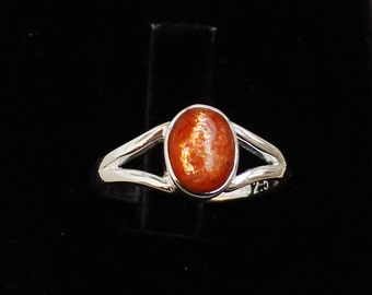 Sunstone Sterling Silver Solid Ring Ladies Ring Women Minimalist Ring Natural Orange Sunstone Genuine Crystal Non Adjustable Handmade