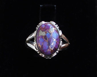 Purple Copper Turquoise Ring Blue Copper Turquoise Ring 1742 Sterling Silver Under 100 Ladies Turquoise Ring Turquoise Ring
