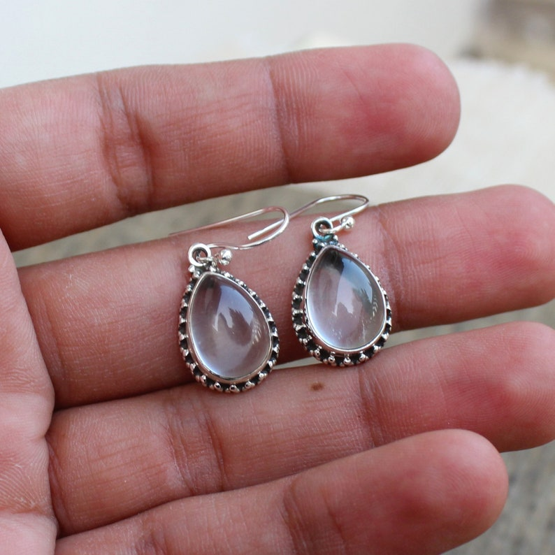gift for her Loop Dangles Christmas gift earrings Gemstone Cabochons Sterling Silver Jewelry Crystal Quartz Earrings Ready to ship