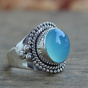 boho ring gift for her Aqua Chalcedony ring Christmas jewelry Sterling Silver sterling silver ring anniversary ring Dainty jewelry