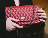 Leather Crossbody Bag - women bag-Small bag- Evening Bag- Quilted Shoulder Bag- red leather clutch-Gift For Mom-Leather Handbag-Vegan Bag